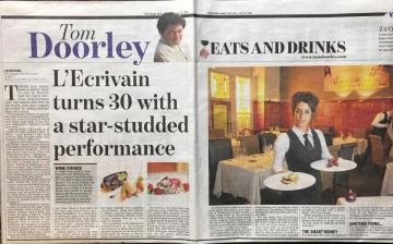 lEcrivain turns 30 with a star-studded performance by Tom Doorley - Irish Daily Mail, Saturday 27th July, 2019