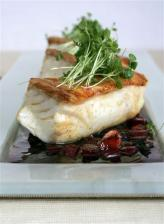 Roast Halibut with Beetroot, Bacon & Black Pudding Dressing & Horseradish Cream
