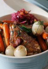 Pheasant Roasted with Smoked Bacon & Sage, with Red Cabbage Salad