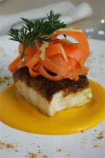 Spiced Monkfish with Carrot & Orange Puree, Carrot & Ginger Salad