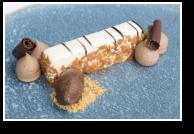 Trois Chocolats, White Chocolate Mousse, Cocoa Sorbet, Milk Chocolate Ganache