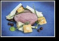 Spring Lamb Rump, Violet Artichoke, Gnocchi, Jus