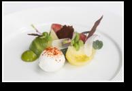Heirloom Tomato, Basil Emulsion, Casa Madaio Bocconcini, Black Olive