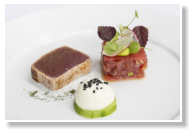 Seared Yellowfin Tuna, Tartare, Cucumber, Watermelon, Soya